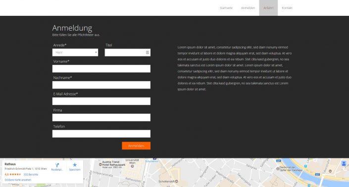 Anmeldung Event Website VariusSystems