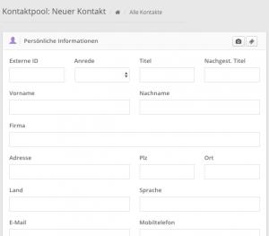 Online Kontakte verwalten mit VariusSystems - neuen Kontakt anlegen
